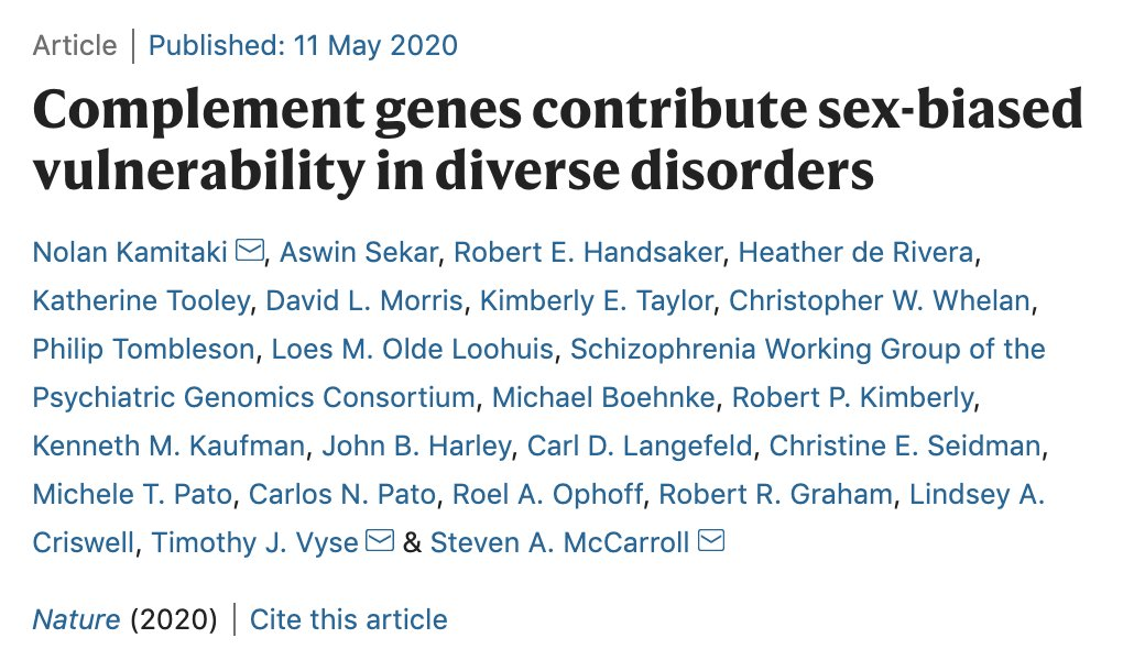 Many common illnesses, from the autoimmune diseases systemic lupus erythematosus (SLE) to schizophrenia, differentially affect men & women. New work in @nature implicates complement genes in sex-biased vulnerability in diverse disorders #GenderData https://t.co/FCsLK3dio9 https://t.co/dOq2Q7bACH