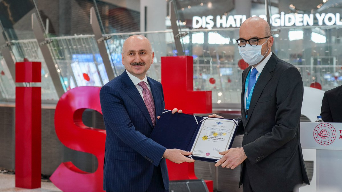 "We have received the ""Airport Pandemic Certificate"" from the Turkish Minister of Transport and Infrastructure @akaraismailoglu for the Covid-19 measures taken at #IstanbulAirport and sent our first guests off to Ankara!  We are so happy to reunite with our guests! ✈ https://t.co/wsHG7uphZS"