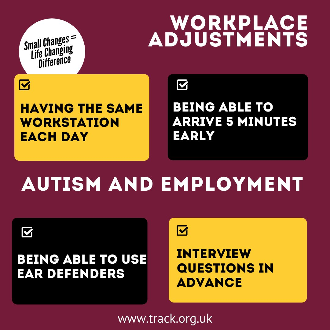 Our FREE E-Learning Unit Autism in the Workplace is available via our website track.org.uk/e-learning #autism #employment Change the environment and not the person. Would you like to find out more? Please message us to see how we can work together