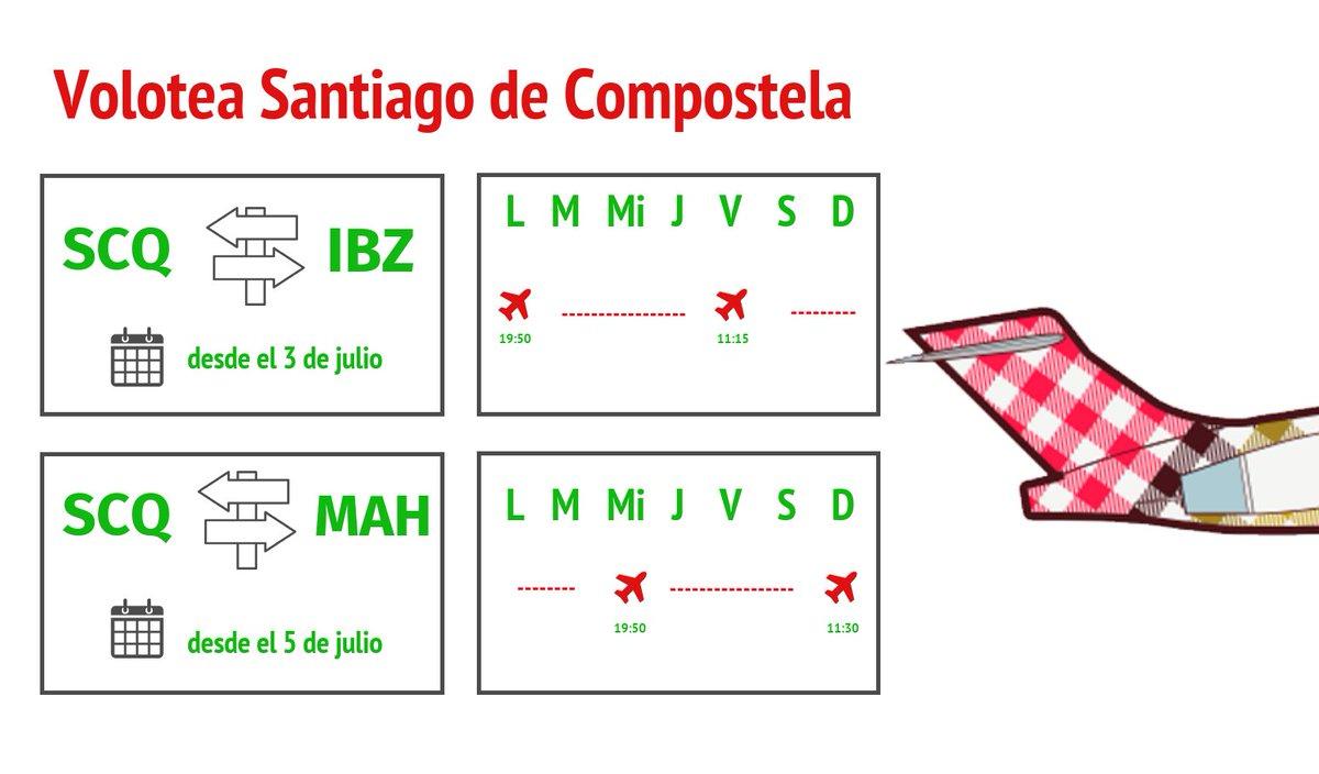 🆕@volotea desembarca en el #aeropuerto de Santiago de Compostela este #verano con 2 nuevas rutas a #Ibiza y Menorca:  ✈️  👥4.500 plazas al mes 🗓️ desde el 3 julio  #Galicia #turismo #Volotea #SCQ #IBZ #Lavacolla #Menorca   #QuédateEnCasa  #España