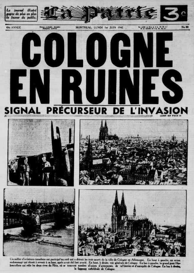 La Une du journal La Patrie, 1er juin 1942 https://t.co/vttSP2fSg3