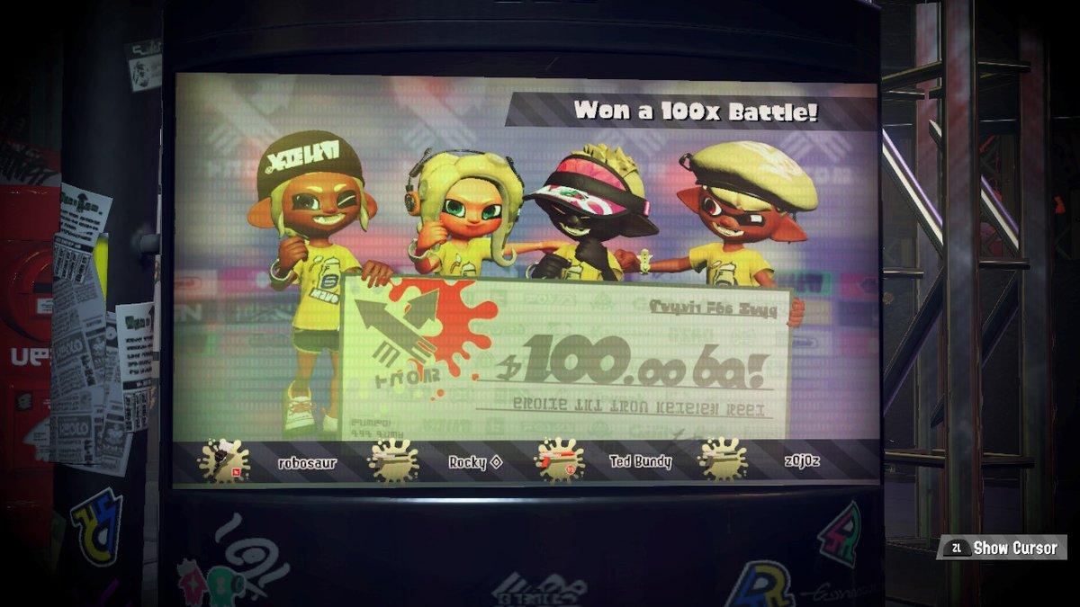 Won a 100k  #Splatoon2 #NintendoSwitch #splatfest
