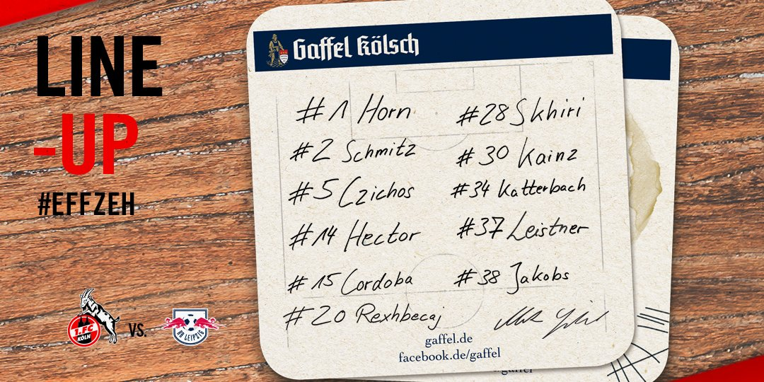 🔴⚪ TEAM NEWS TIME! Markus Gisdol makes four changes to the #effzeh side on Wednesday, as Rafael #Czichos, Noah #Katterbach, Jonas #Hector and Florian #Kainz come into the starting line-up! ___ #KOERBL https://t.co/hzoeBgVLGL