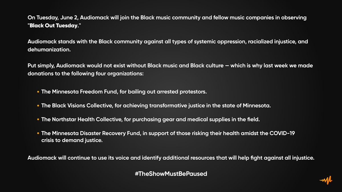 """""""Put simply, @Audiomack would not exist without Black music and Black culture."""" This is step one."""