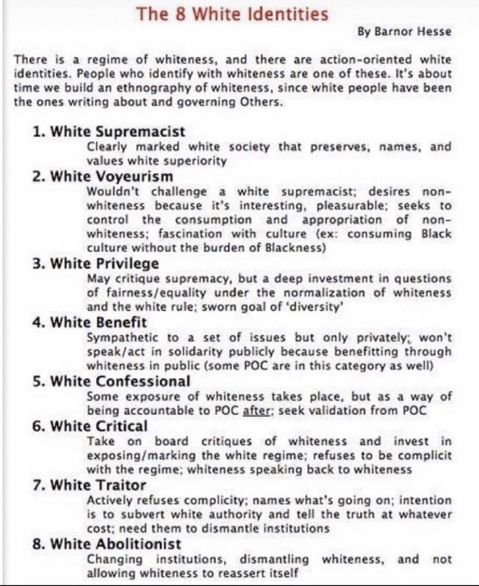 The 8 White Identities.  An Important Framework to examine the nuances of Whiteness. <br>http://pic.twitter.com/fwpF4H1QqG
