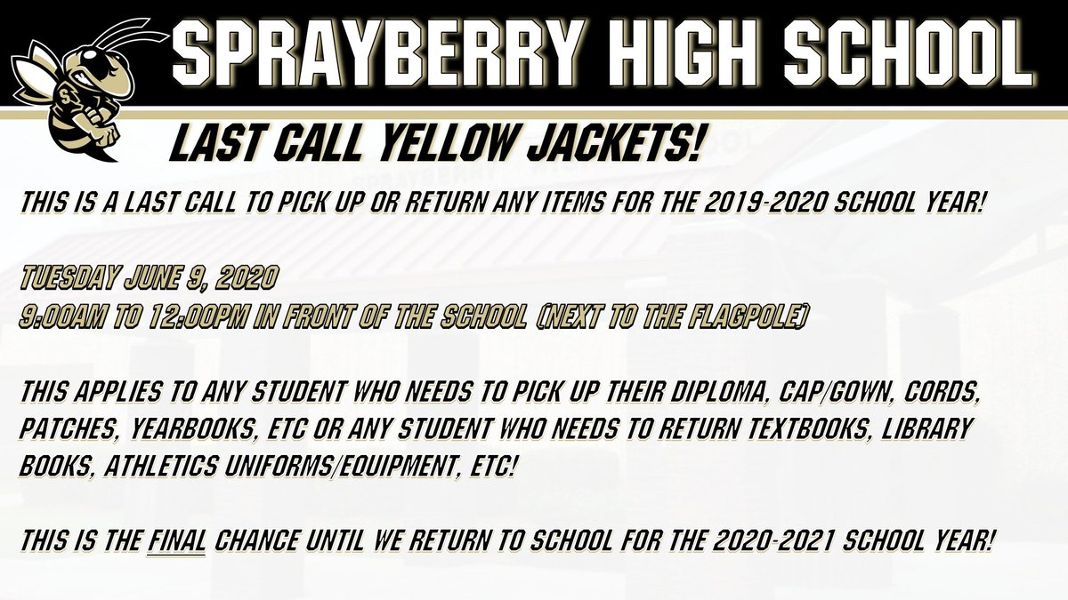 Any student form 2019-2020! This is your LAST CALL! #shspositiveposting #wearesprayberry