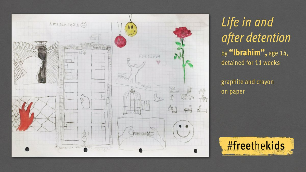 14-year-old Ibrahim & 17-year-old Kamrul spent months detained in Greece Today, @hrw publishes their drawings about the fear they experienced in police detention & their hope after release Tell @PrimeMinisterGR to #FreeTheKids who are still behind bars! hrw.org/FreeTheKids