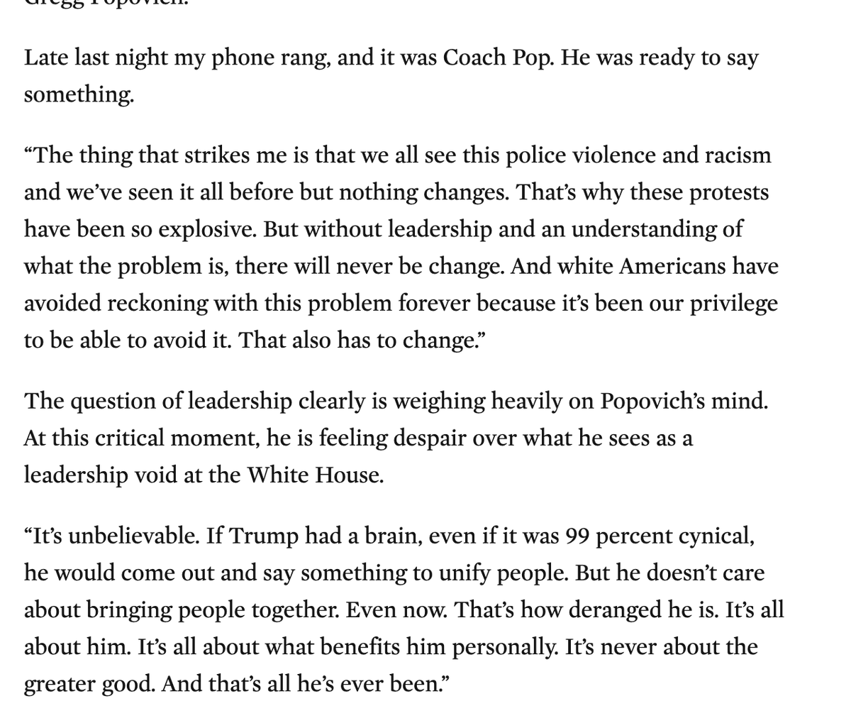 Wow. Coach Gregg Popovich *unloads* on Trump to @EdgeofSports. Calls him deranged. Goes after Ted Cruz and Lindsey Graham. The works. bit.ly/2Xlypy8