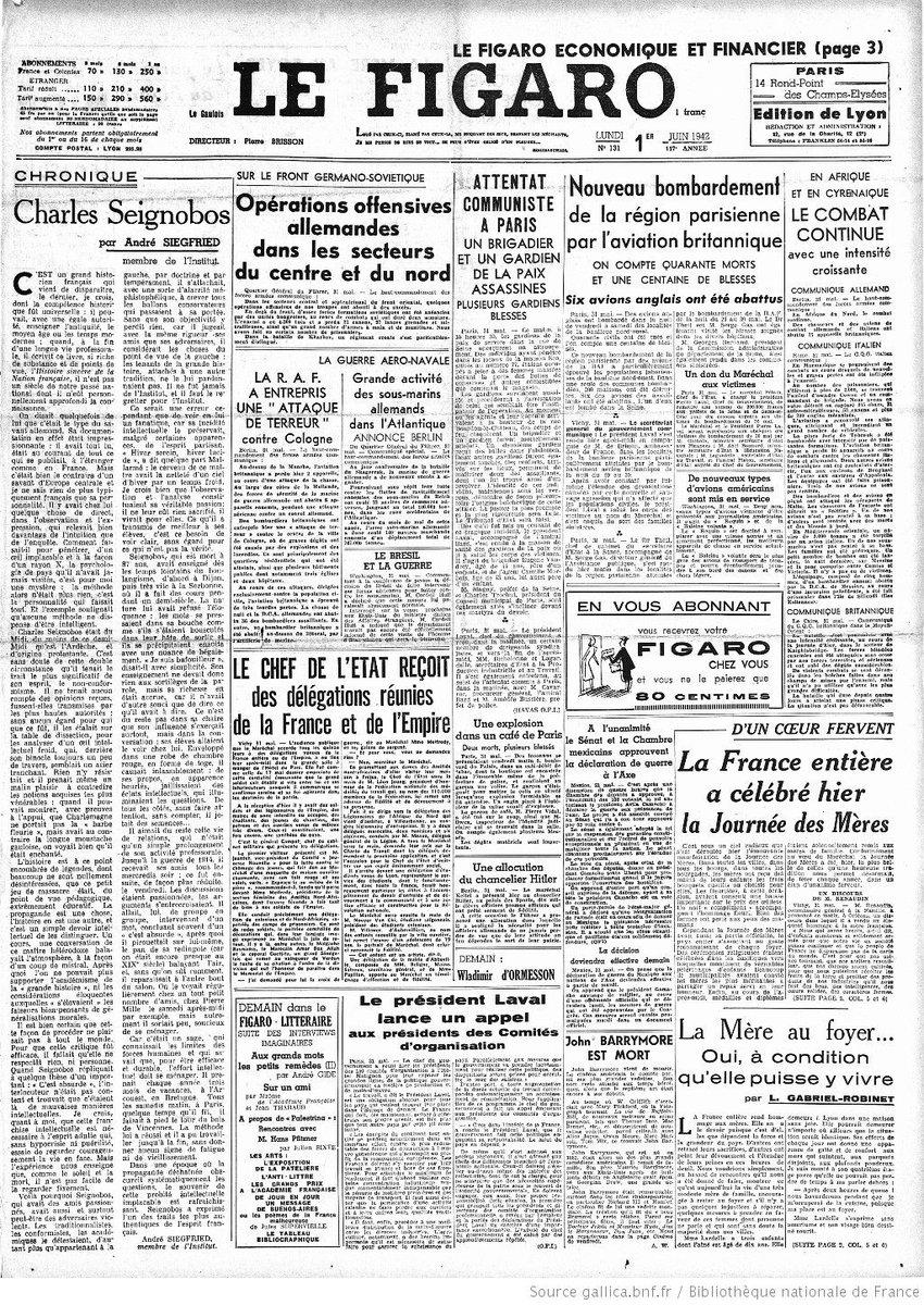 La Une du journal Le Figaro, 1er juin 1942 https://t.co/vUoOnXE7nc