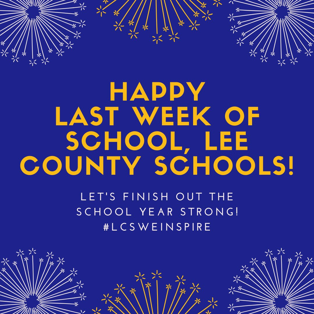 Happy last week of school, Lee County Schools! Let's finish out the school year strong! #LCSWeInspire https://t.co/LYOsQcET0b