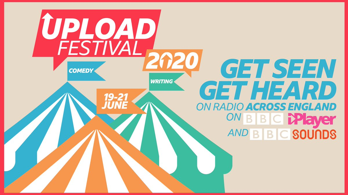 Big opportunity alert! 🤩 How about performing your work on the BBC iPlayer? 😲 And on radio all over England? 🤯  To be in with a chance of a slot at the Upload Festival all you need to do is upload your comedy or writing 👉 https://t.co/2w09gjfGmX https://t.co/mEDLSNxmc2