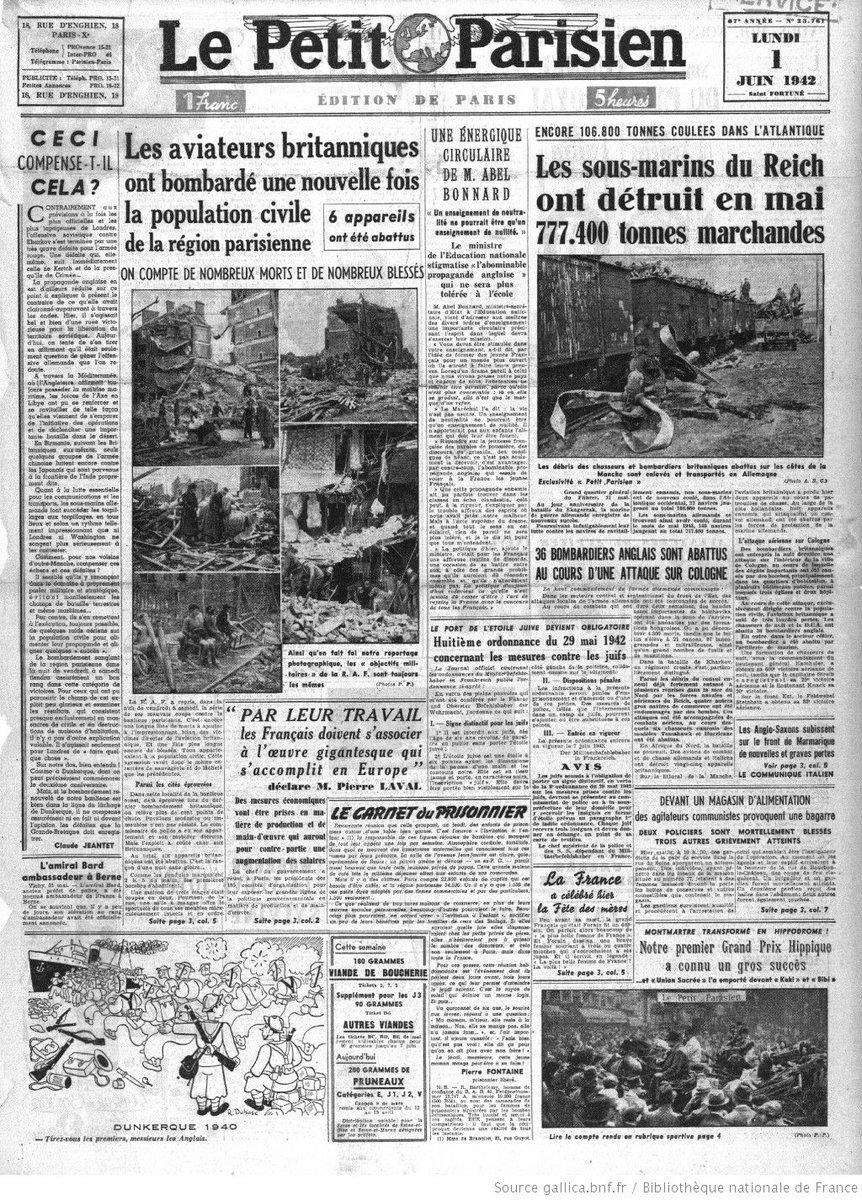 La Une du journal Le Petit Parisien, 1er juin 1942 https://t.co/lUeXDSXW1U