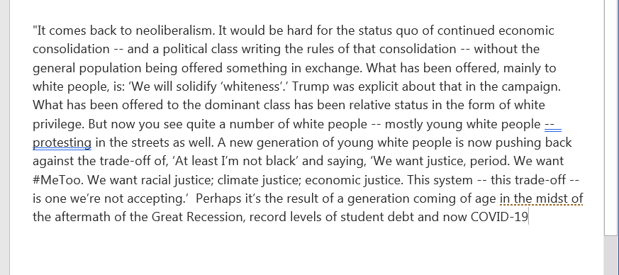 Some thoughts from economist @DarrickHamilton on the protests, young white people, & our current economic moment: