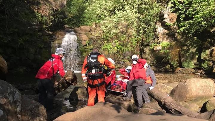 Emergency crews rescue man who was injured after tombstoning from waterfall in North York Moors: bbc.in/3eJAj1D