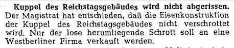 """""""Nur der lose herumliegende Schrott soll an eine Westberliner Firma verkauft werden."""" @tagesspiegel #OTD 1950 #Reichstag"""
