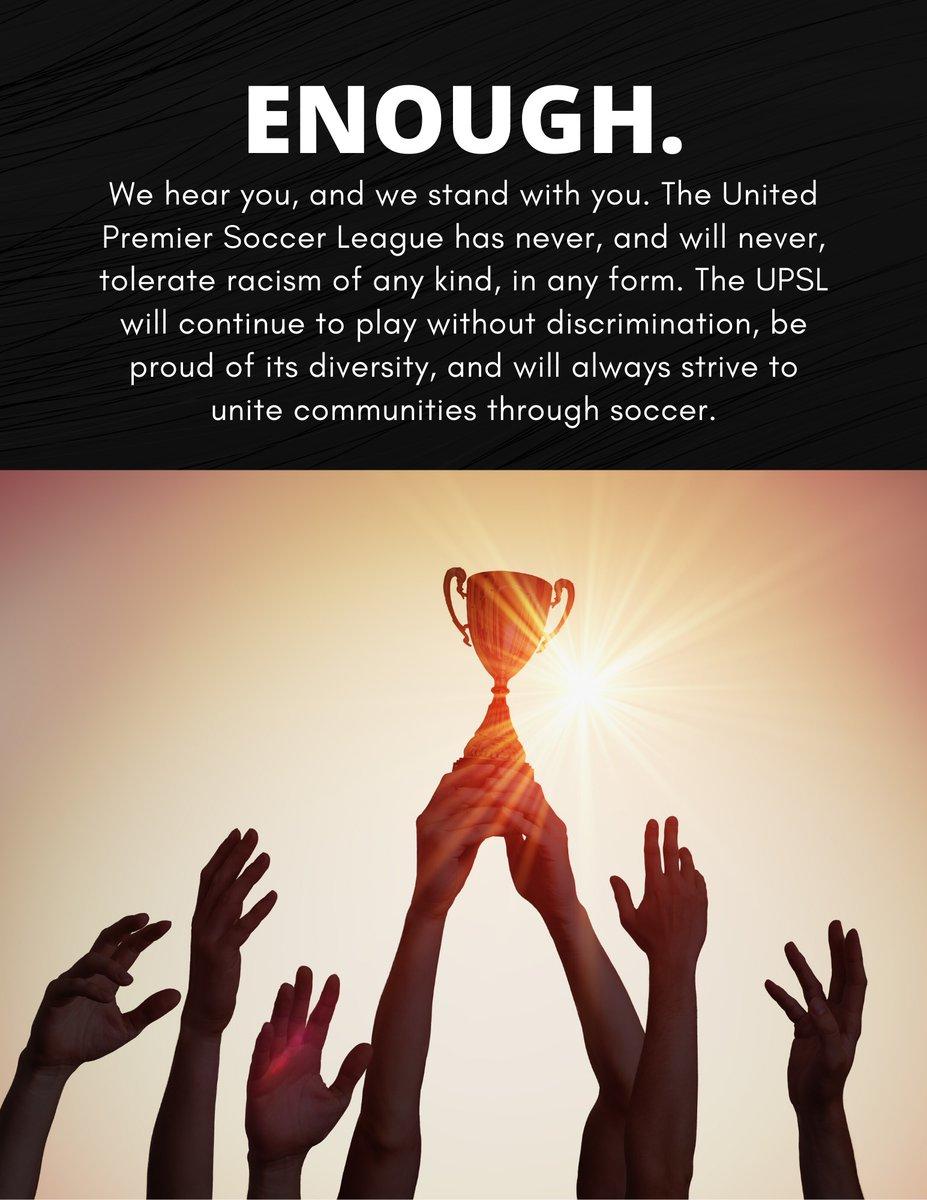 ENOUGH.  #blacklivesmatter #unitedwestand #enoughisenough #endracism #upsl https://t.co/4oAIpQuv7i