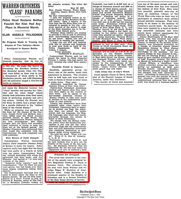 @realDonaldTrump On this date June 1 in 1927, The New York Times reported that Fred Trump was arrested at a KKK rally. #OTD