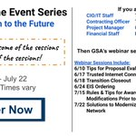 Federal Employees - register now to attend GSA's new webinar series: EIS Path to the Future. The series runs from 6/10 - 7/22 and times vary. You can choose which sessions you would like to attend or attend them all!  Learn more and register now: https://t.co/Ois3Pv47Gm