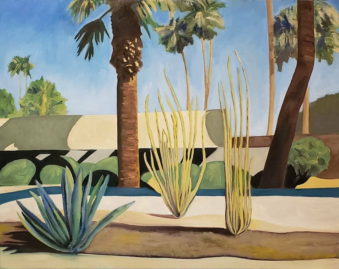 """New Painting:  Mid-Century and Palms, oil on canvas, 22""""h x 28""""w #artistsontwitter #oilpainting #oiloncanvas  #midcenturymodern #palmtrees #palmspringspic.twitter.com/R0ElxSsGhT"""