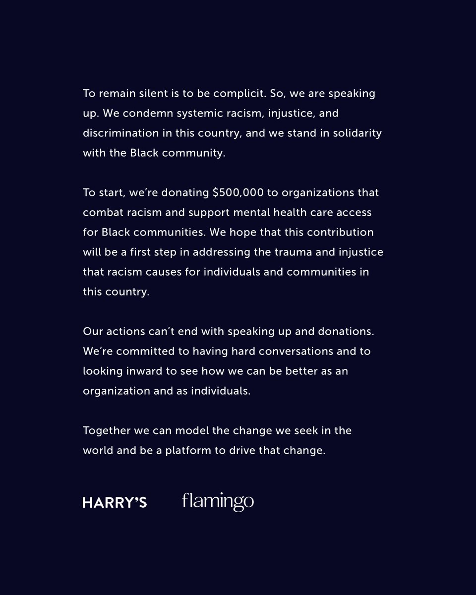 We condemn systemic racism in this country, and we stand in solidarity with the Black community. We're donating $500,000 to combat racism & support mental health care for Black communities, and were committed to looking inward to do better as an organization and as individuals.