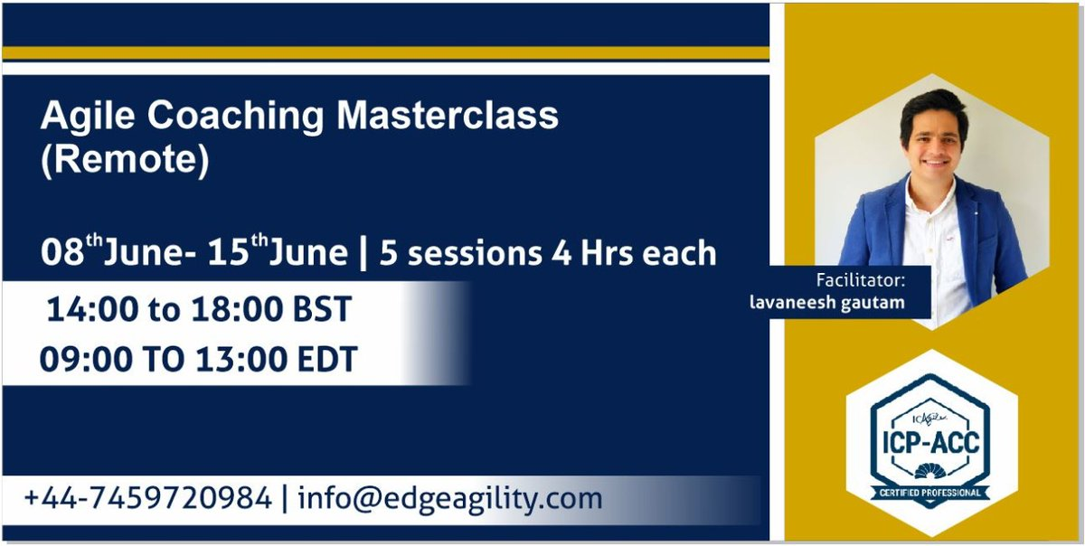Please join us for our remote ICAgile Agile Coaching Masterclass starting June 8th.  Supporting timezones of UK, Europe, Middle East, USA & Canada.   #agilecoach #ICPACC #agile #agilemidset #coaching #USA #uk #UAE #Canada