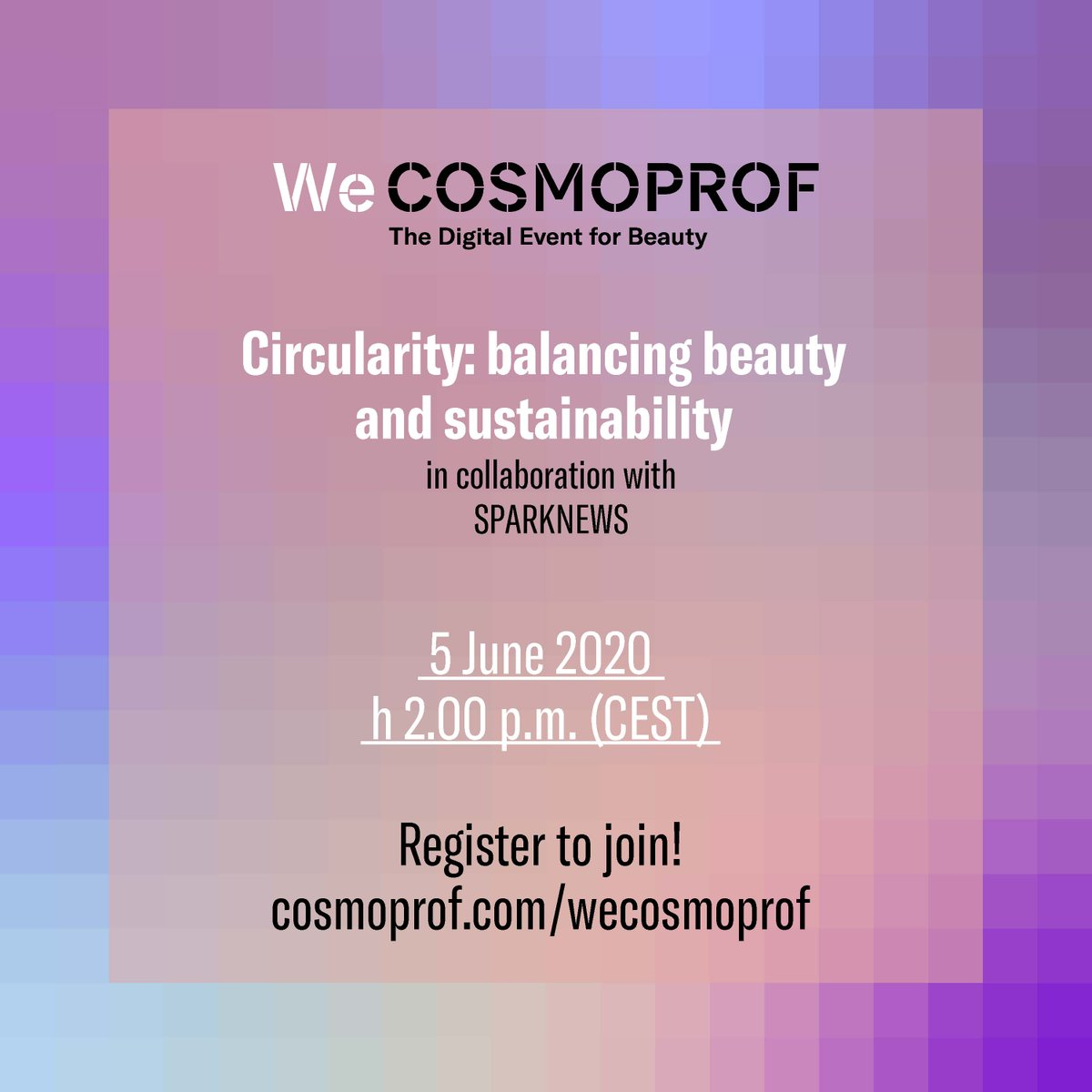 We'll be at #CosmoProf on 5 June, 14.00 hrs CET. Join our VP, Christina Raab online for: Circularity: Balancing Beauty and Sustainability We're embracing a #CircularEconomy & reducing our dependence on finite products, learn how #beauty companies do it: