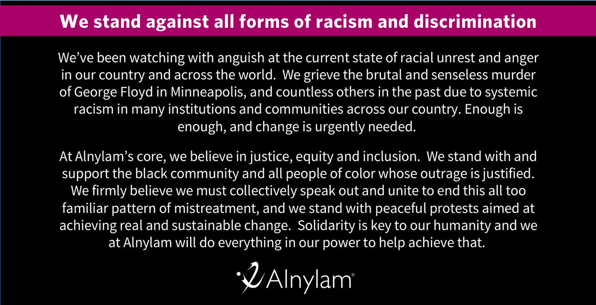 We stand with the Black community and all people of color. Systemic racism and exclusion of any kind cannot be tolerated. We are our greatest as a society when we treat everyone with dignity, respect and in the same way we would wish to be treated by others. https://t.co/9igeKxoJb0