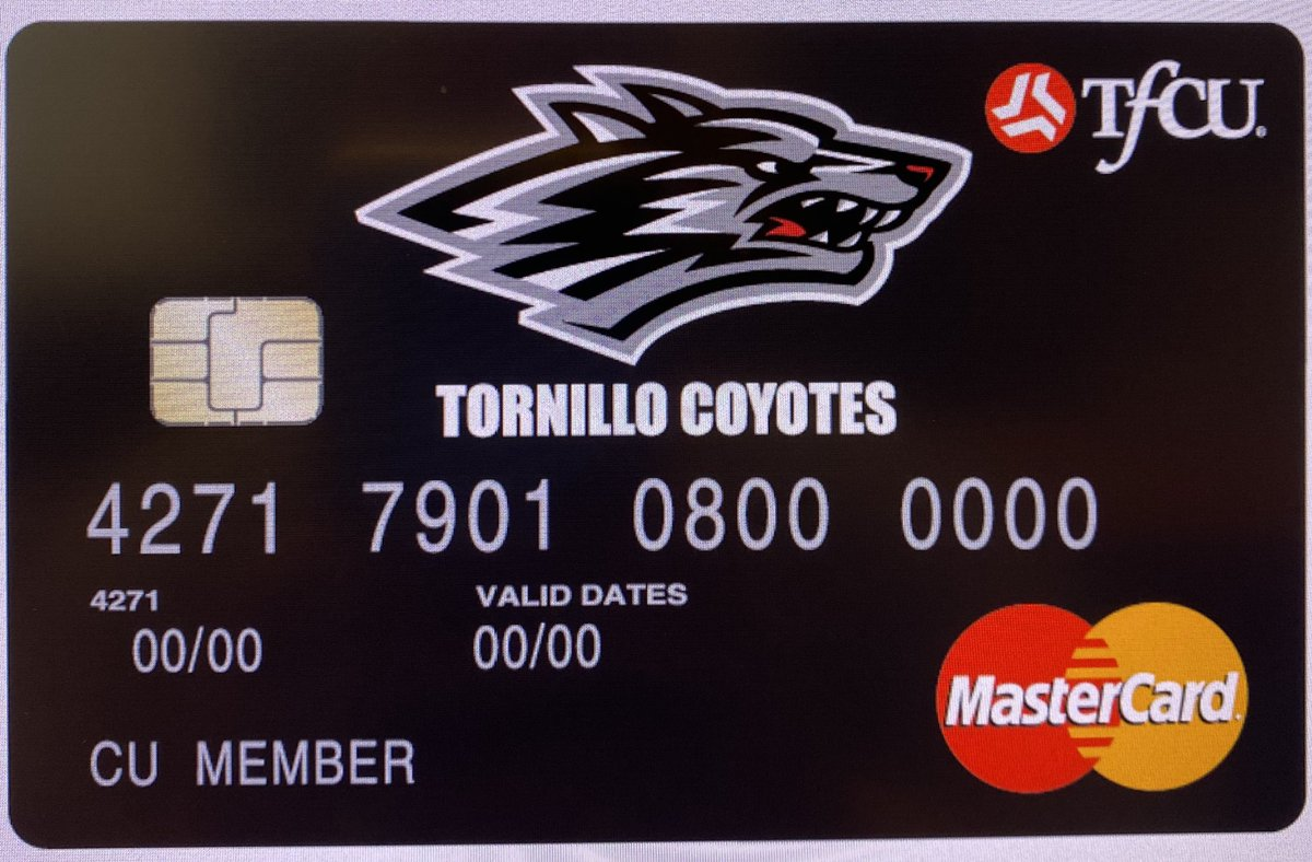 Tornillo HS Spirit Debit Card Design was Approved today!!! We can't wait for available date! Partners In Ed. Matter...Thanks @tfcu_elpaso! #TISDProud <br>http://pic.twitter.com/WJI51LSsIY
