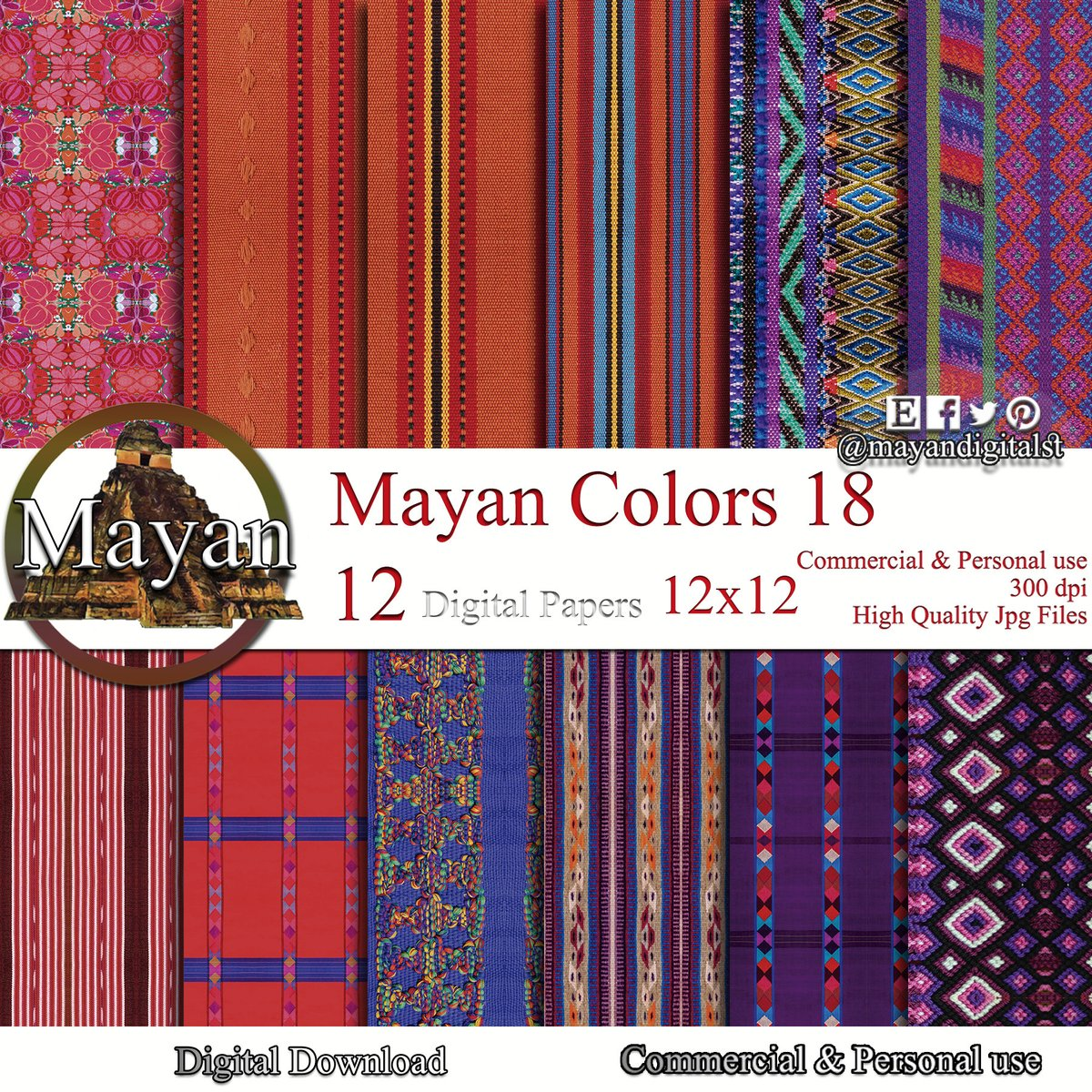 Excited to share the latest addition to my #etsy shop: Mexican digital paper, mexican art, mexican textile art, mexican digital background, mexican textiles, mexican blanket, mexican fabric print  #orange #birthday #people #purple #mexican #mexic