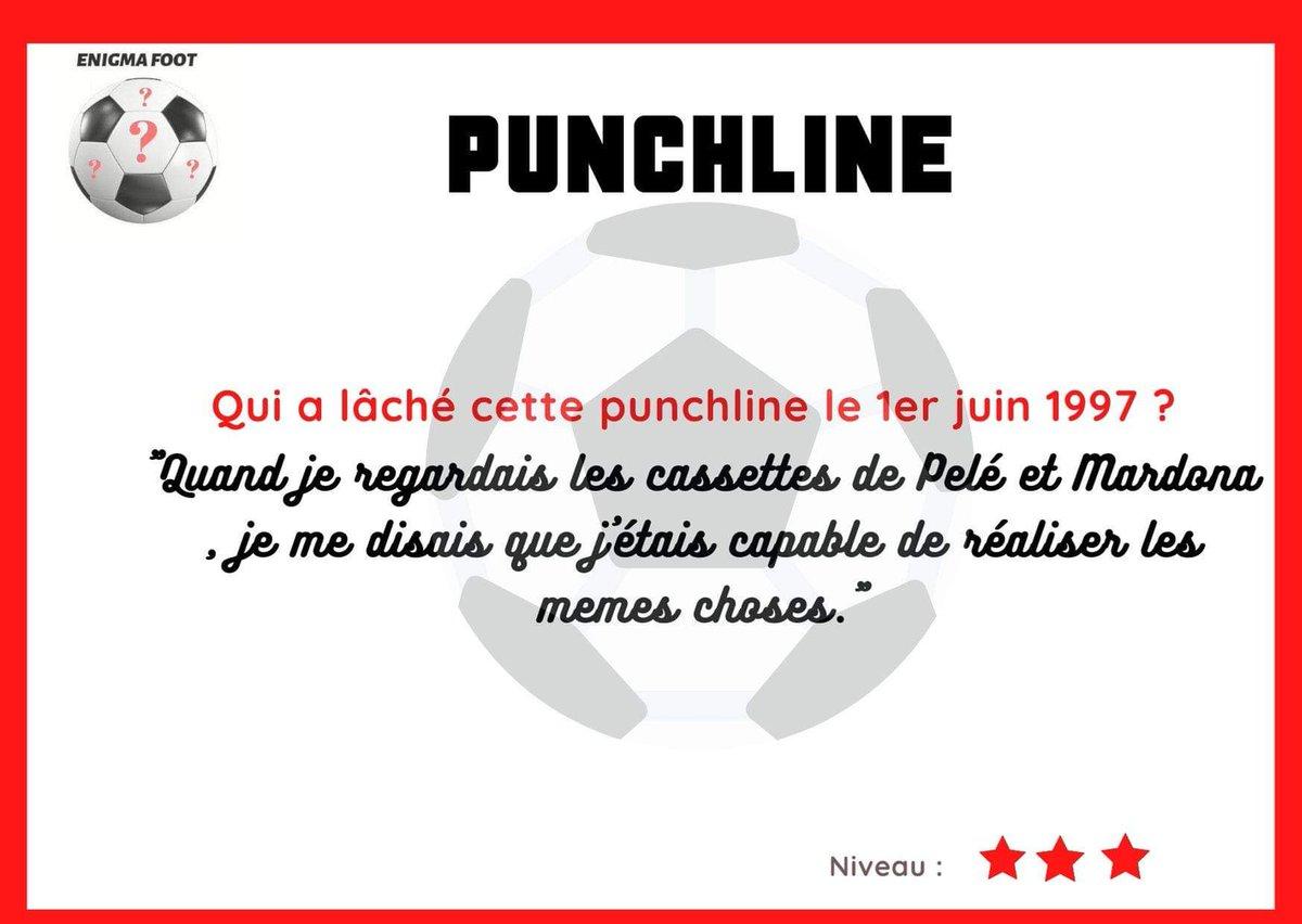 """Nouvelle #ENIGMAFOOTpunchline👊   Qui a lâché cette punchline le #1juin 1997❓🤔  🎙Quand je regardais les cassettes de Pelé et Mardona , je me disais que j'étais capable de réaliser les memes choses.""""  Tic-tac...  ⏳ https://t.co/zNahhirqgm"""