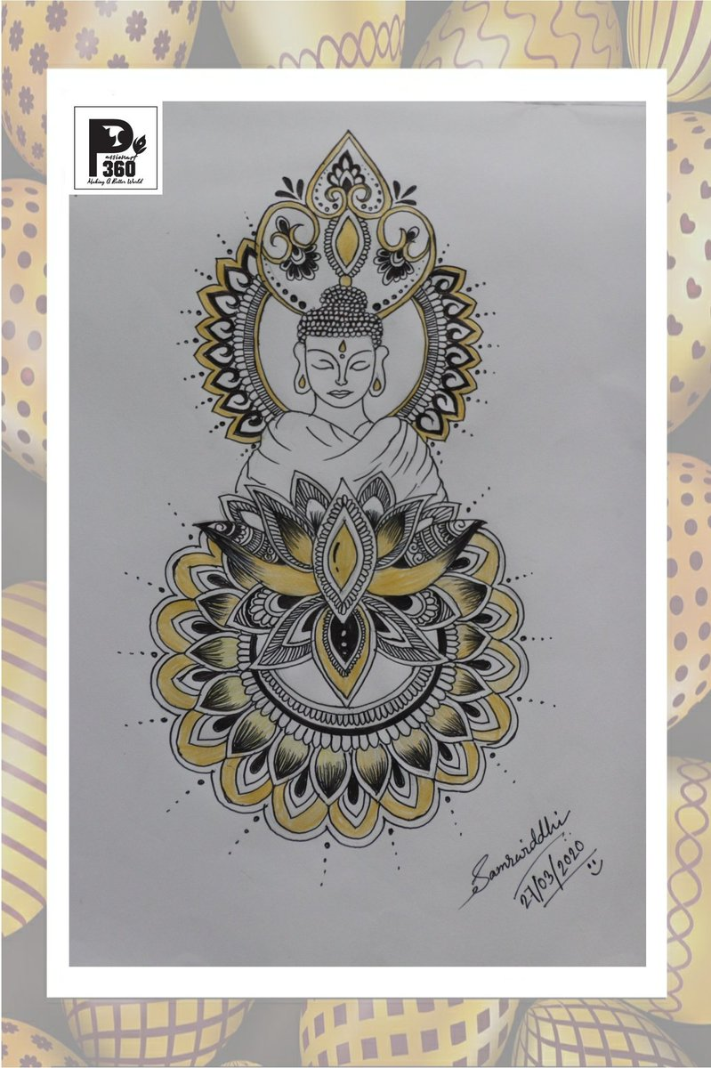 """""""The Magic Art"""" A Mandala Art by Samrwiddhi Roy which tells """"There is no fear for one whose mind is not filled with desires"""" ~ Gautam Buddha For more such beautiful contents- https://www.facebook.com/samrwiddhi.roy.39… https://instagram.com/_samrwiddhi?igshid=rr5axdxro5mx…  #Passion #art #ArtistsCommunity  #mandala #calligraphypic.twitter.com/BHxlDogSBV"""
