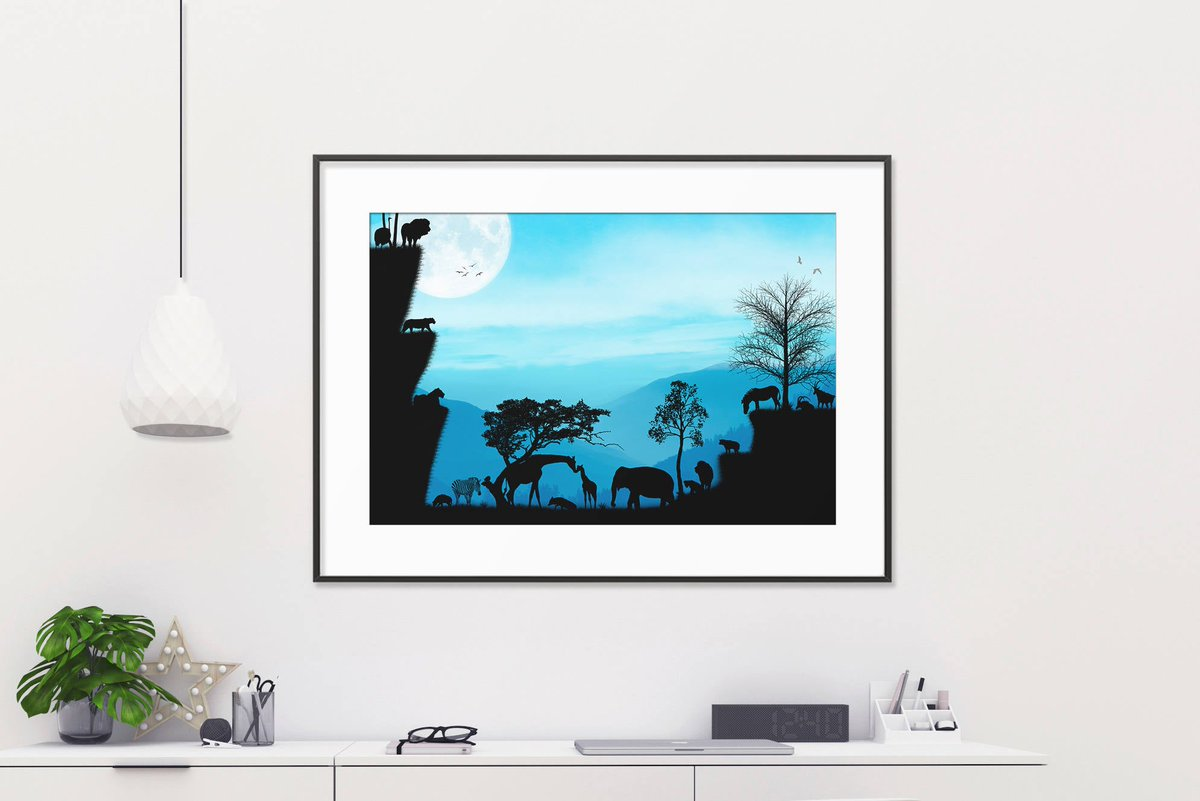 Excited to share the latest addition to my #etsy shop: African digital paper, african backdrop, african safari decor, african landscapes, african animals pictures, african landscape painting  #birthday #blue #fathersday #black #art #drawing #afri