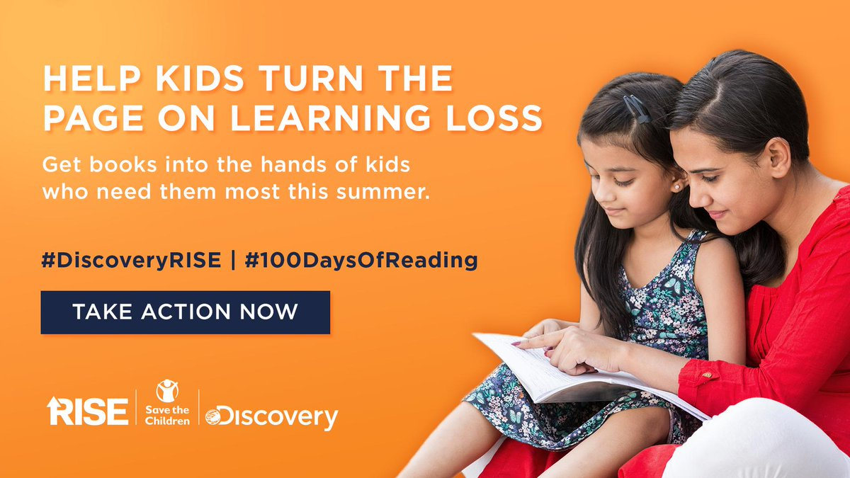 Open new possibilities for kids in need. Early school closures means millions of kids are without access to books. Help @SavetheChildren give kids the books they need to thrive this summer. Visit https://t.co/v1fqdFdKoj to take action now. #DiscoveryRISE #100DaysOfReading https://t.co/RBfIpc36NJ