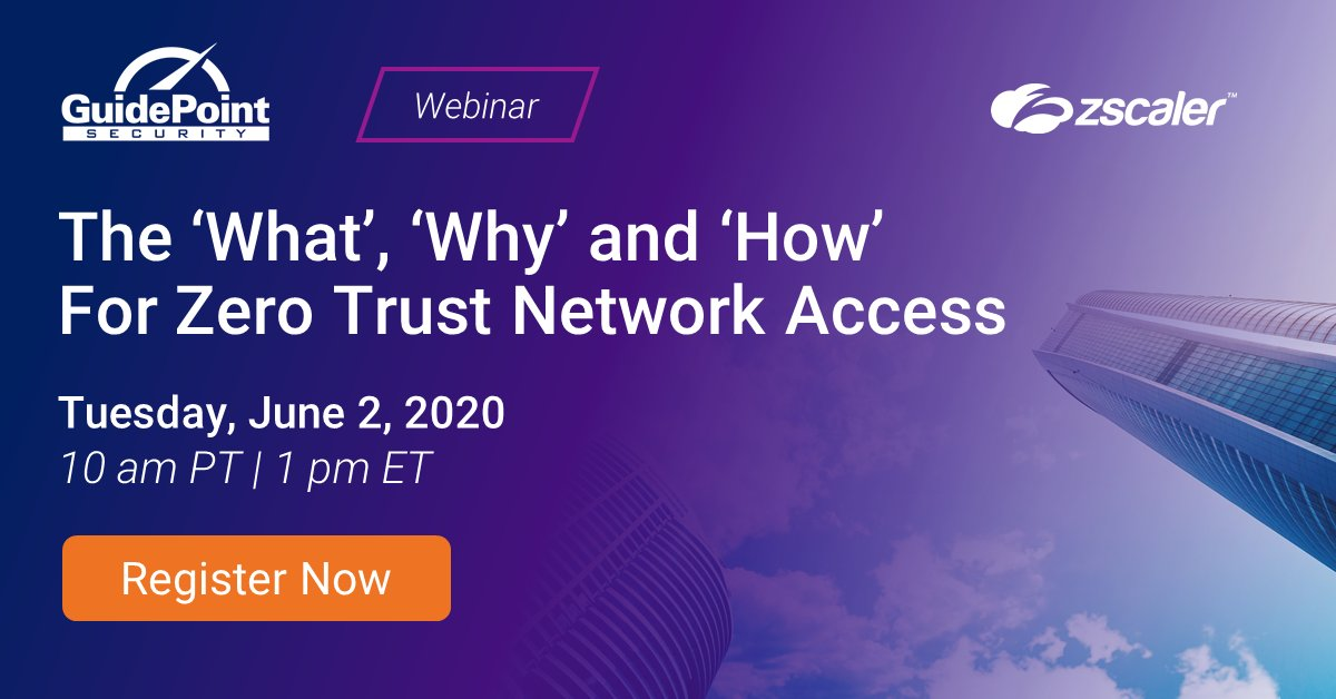 TOMORROW, June 2: Join @GuidePointSec and Zscaler at 10 am PT for a webinar and Q&A on Zero Trust Network Access (#ZTNA). Register today! https://t.co/mValL6yXvF https://t.co/nji5VOR53p