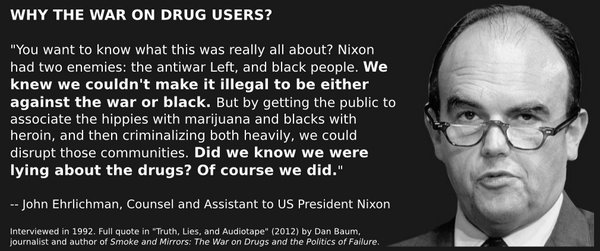 "Hilary Agro 🍄 on Twitter: ""This whole racist system is 100% intentional. Since the Nixon era, the War On Drugs was designed to keep poor Black communities in socioeconomic and political marginalization,"