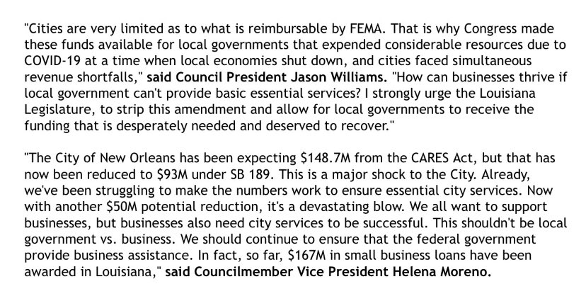 UPDATE: More on  development in #Nola as it pertains to #Covid19 and funding from CARES Act. See statements from @HelenaMorenoLA @RunWithJason - More @wdsu at 10PM. https://twitter.com/traverswdsu/status/1267618479764635648 …pic.twitter.com/kHLnfzqLdJ