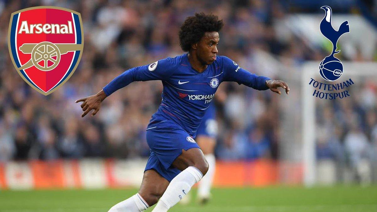 O Tottenham e o Arsenal estão planejando um verão em que não poderão gastar dinheiro, por conta disso, competem pela transferência gratuita de Willian (Daily Telegraph)