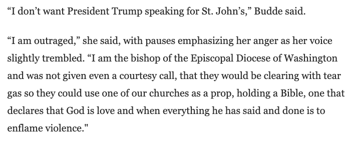 """The Right Rev. Mariann Budde, bishop of the Episcopal Diocese of Washington, said she learned of Trump's visit by watching it on the news.  """"I'm outraged,"""" she said.   https://t.co/mrqvnzP3oc https://t.co/OYP7g7945i"""
