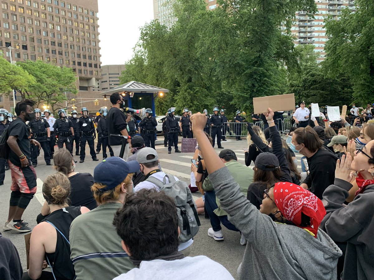 """Protesters chanting """"no justice no peace fuck these racist ass police."""" #NYC"""