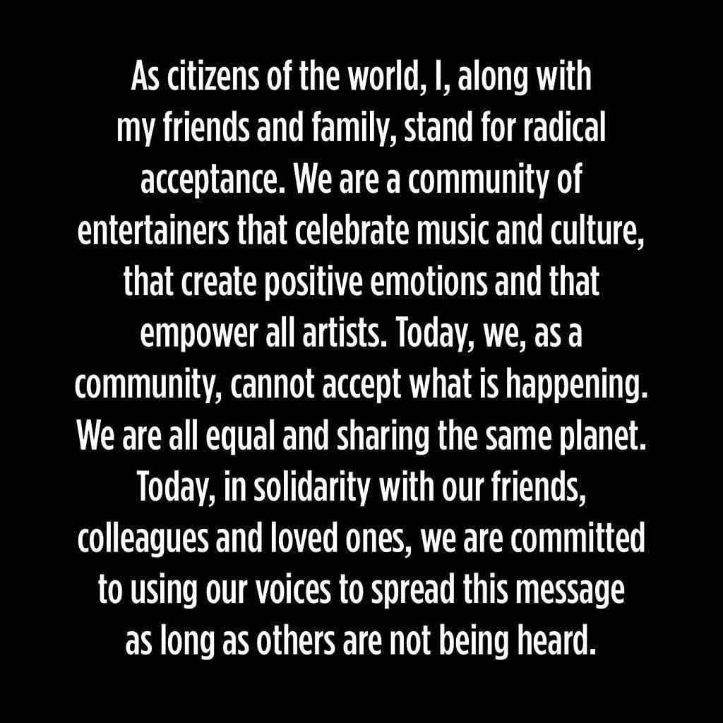 Today we stand in solidarity against racism in Australia and the world.   We stand for love, understanding, equality, change, unity, acceptance, peace & hope. #theshowmustbepaused #blacklivesmatterpic.twitter.com/nhHvCwUGzE