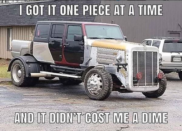 """Anything you want can be considered """"truck life"""" as long as it has a bed on the back right?  This takes some craftsmanship that is for sure!   #Tshirthappiness  #Truck #Diesel  #Lifted #Trucks #Trucklife  #Cummins  #Powerstroke  #dadlife #Dadswag #clothing #hats #tshirtspic.twitter.com/frUX0Gt1s8"""