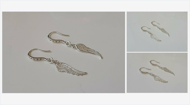 925 Sterling Silver and Cubic Zirconia Angel Wing Earrings | Bluediamonds Gifts #sterlingsilver #handmade #cubiczirconia #angel #wings #earrings #jewellery #gifts #giftideas #giftsforher #angels #prettything #jewelry #giftshop #jewelryshop #accessories