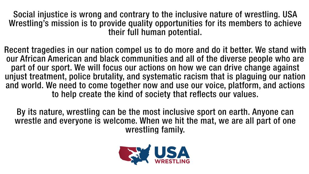 USA Wrestling statement on social justice: https://t.co/kFyieHyj4c