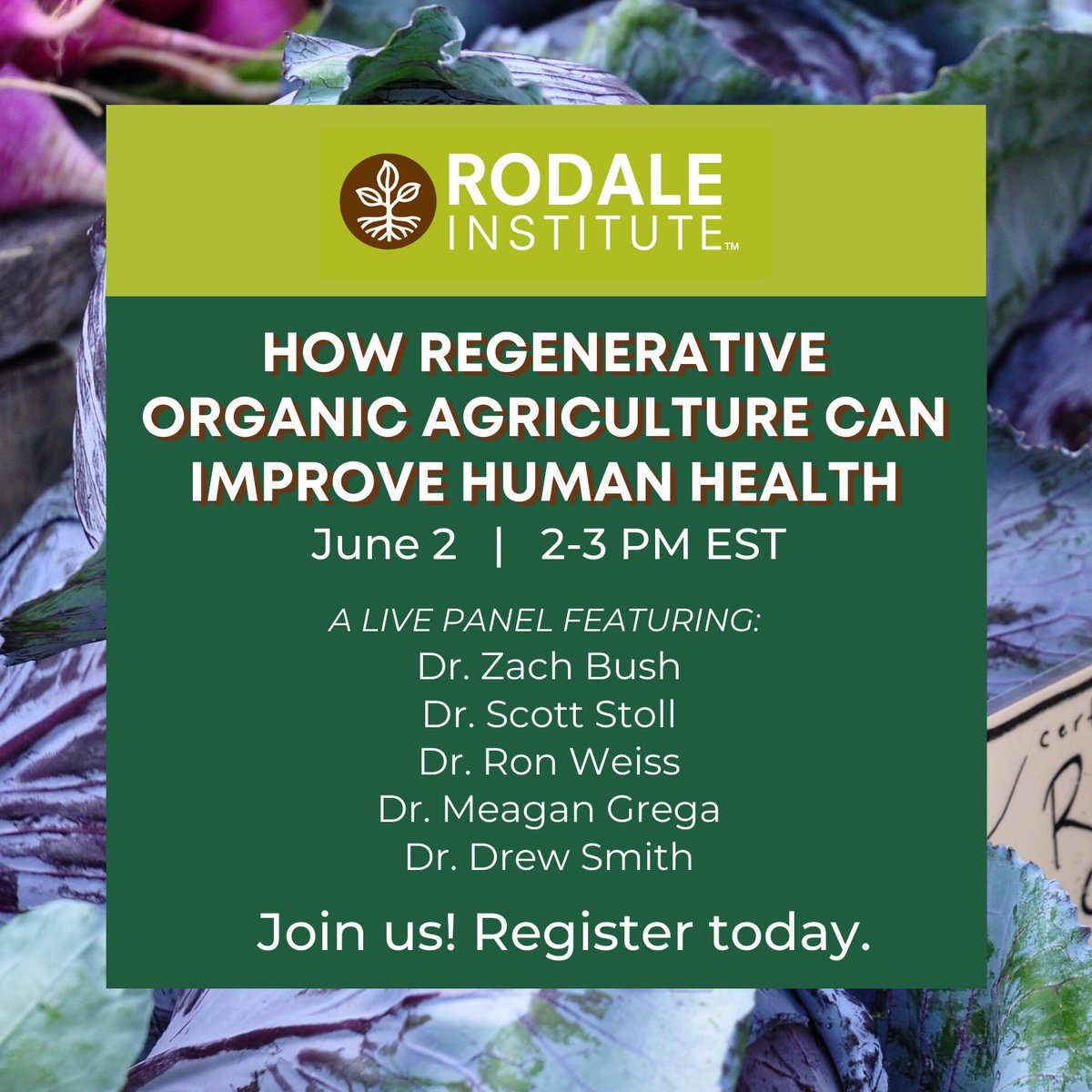Its finally here! Join us TOMORROW to dive into our newest white paper (rodaleinstitute.org/education/reso…) alongside a panel of medical and scientific experts. Register for this free webinar on human #health and #regenerative #organic ag today: rodaleinstitute.org/events/regener…