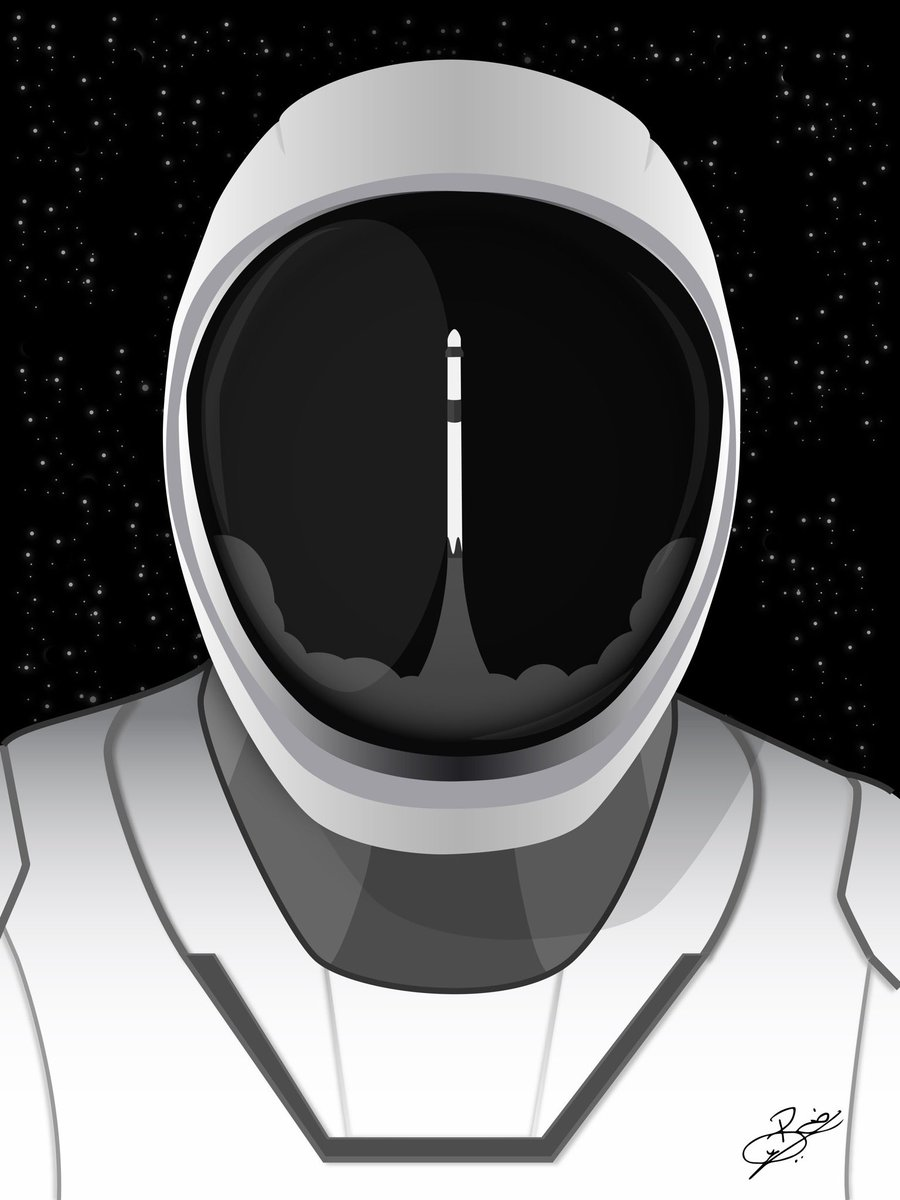 A tribute to @NASA and @SpaceX for their successful launch of the #CrewDragon   @elonmusk #graphicdesign #design #art #digitalart #illustration #space #spacex #nasa