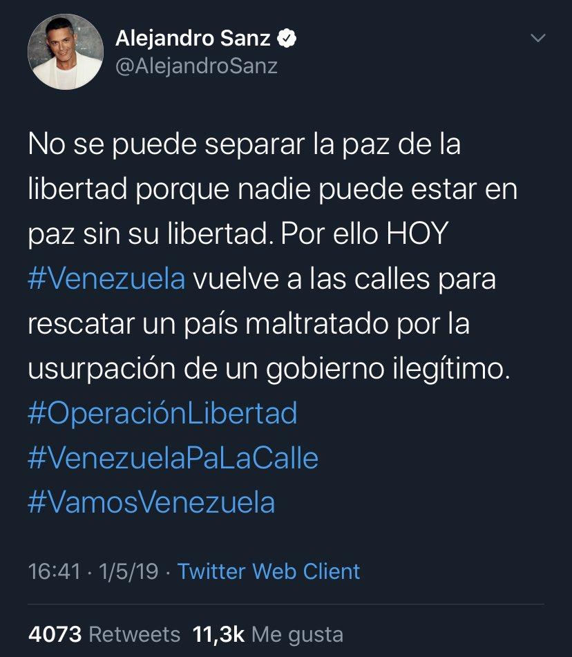 @AlejandroSanz Al hipócrita de @AlejandroSanz se le aplica el dicho de que la lengua es el castigo del cuerpo. Cuando alguien tiene doble rasero, relativizando la moral y los principios, quedará en evidencia como un impostor. Eso es lo que es este cómplice de criminales y terroristas. Ver 👇
