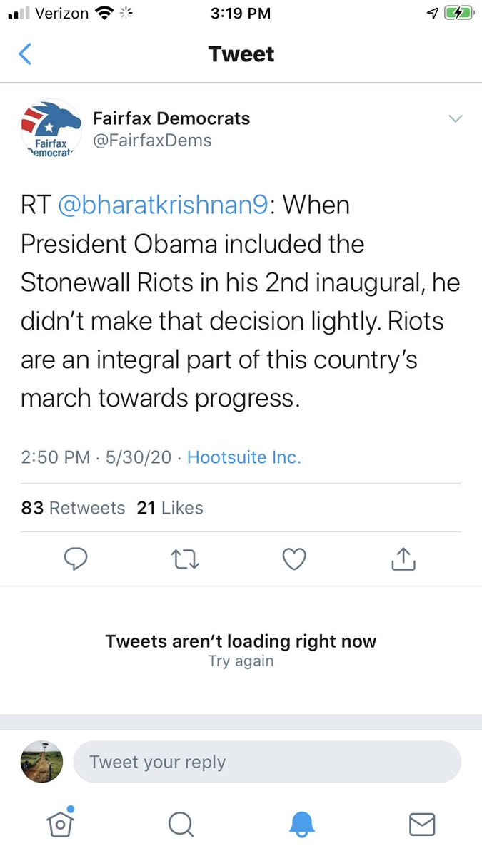 @DisrnNews Shortly after, the Fairfax Dems tweeted (and later deleted) that riots are an integral part of progress