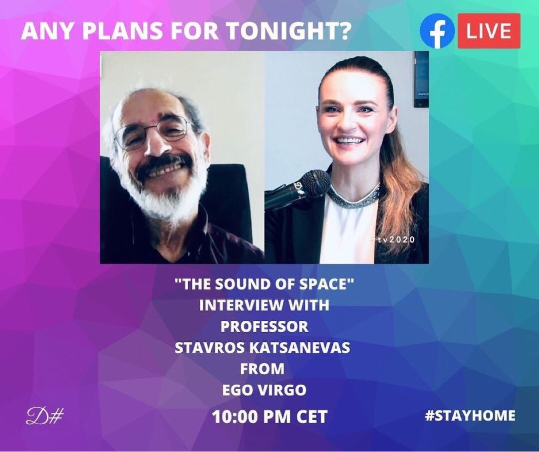 Tomorrow night at 10:00 pm in Live Premiere on @DMajorTV Facebook Page an exciting #interview with Prof. Stavros Katsanevas Director of @ego_virgo  Let's explore the sound of space together, between #music and #blackholes! Leads by @alidaaltemburg #Space #ClassicalMusic #EgoVirgo