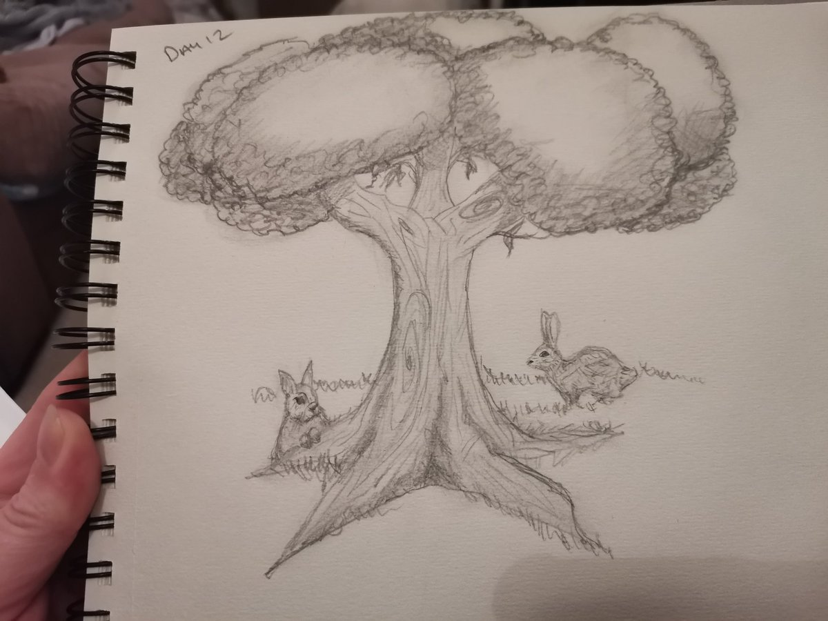 Day12 #LearnToDrawIn30Days #trees I added in #bunnies into it too. #pencilsketch #newskills