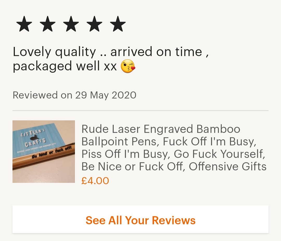 I've had so much positive feedback about my rude bamboo pens on Etsy, thank you! 😆💙 #happycustomer #etsyreview #shopsmall #smallbusinessuk #rudegifts